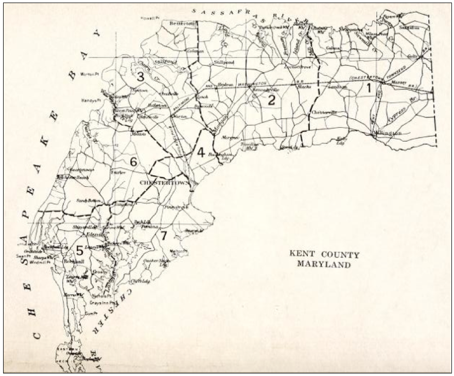 From The Map Of Kent County Maryland Shown Above For The 1800 S Only Kent County Is Divided Into 5 Districts Which Are Mentioned In The Census Records