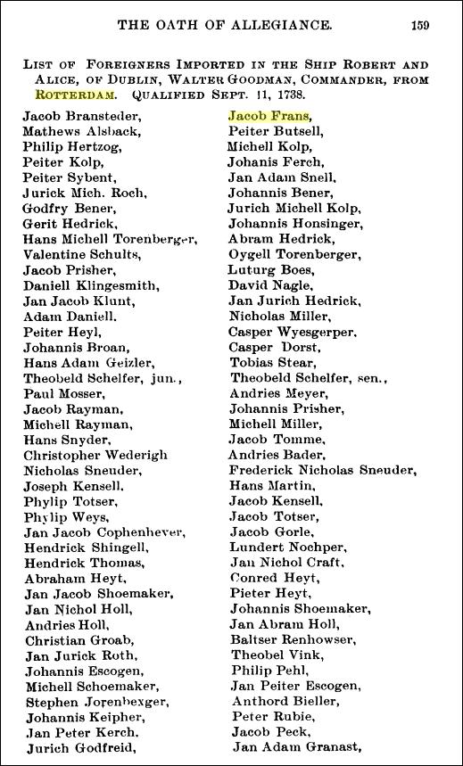 Jacob French, 1702, Berkeley Co., VA (now WV), FFA Chart #195